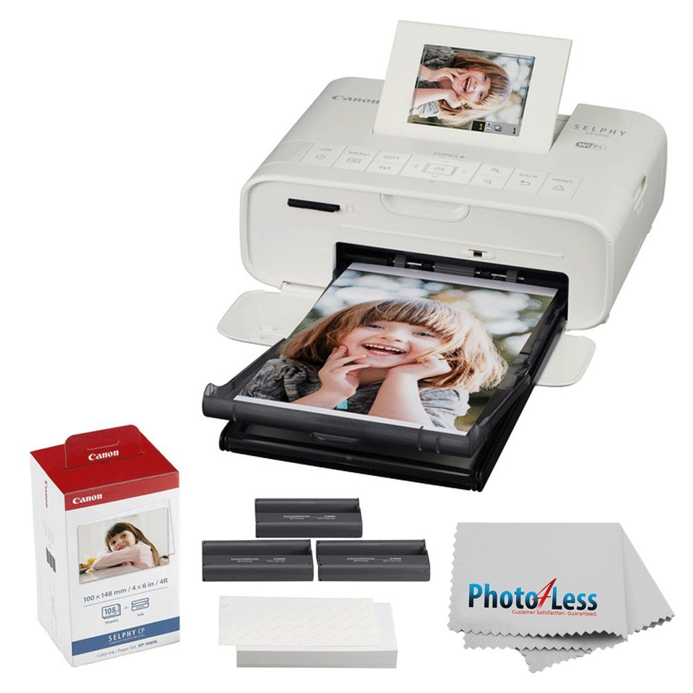 Canon SELPHY CP1200 Wireless Compact Photo Printer with KP-108IN Photo Paper & Ink Kit (White) + Photo4Less Cleaning Cloth + Ultimate Dye-Sub Printer Bundle by PHOTO4LESS