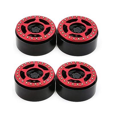 Lesiey 1 par / 2 Pares de aleación 2.2 CNC Beadlock Wheels Llantas CJGLG0018 para 1/10 RC Crawler Axial SCX10 SCX10 II 90046 Traxxas TRX4 D90 - Rojo