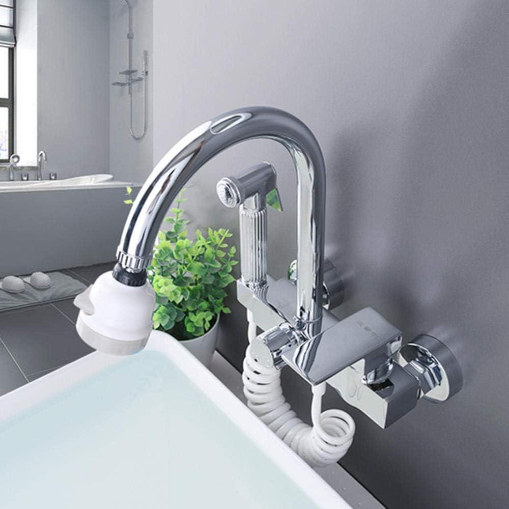 rubinetto per cucina a muro Cromo ottone rubinetto lavello cucina a muro rubinetto cucina a muro Girevole a 360 /° rubinetto a muro miscelatore Fredda e Calda,con attacco lavatrice 1//2