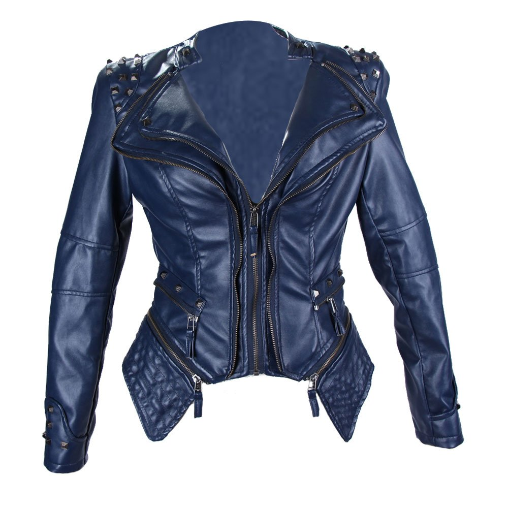 bluee LINGMIN Women's Fashion Studded Faux Leather Jacket Perfectly Shaping Punk Biker Jacket
