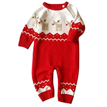 Vovotrade Toddler Boys Girls Christmas Clothes Infant Round Neck print  Knitted Romper Infant Baby Long Sleeve 32ce9e739