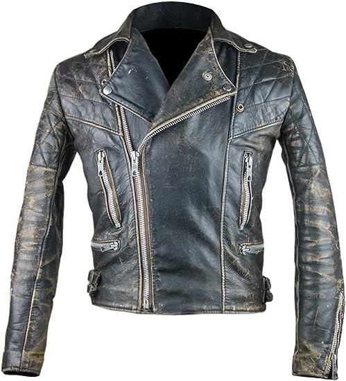 Men/'s Antique Vintage Cafe Racer Distress Black Biker Retro Real Leather Jacket