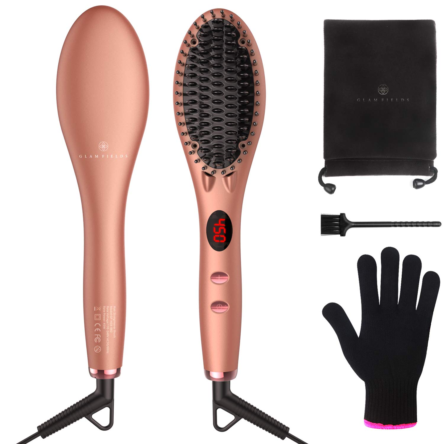 Straightening Brush 2.0, GLAMFIELDS Hair Straightener Iron Brush with Double Negative ions Anti-scald Faster Heating MCH Ceramic Technology 110-240V Travel Size Auto Shut Off Temperature Lock Function