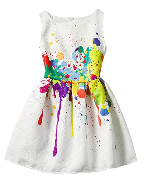 04df75fa4b0e 21KIDS Creative Art Colorful Print Summer Girls Casual Dress,3,Art Paint