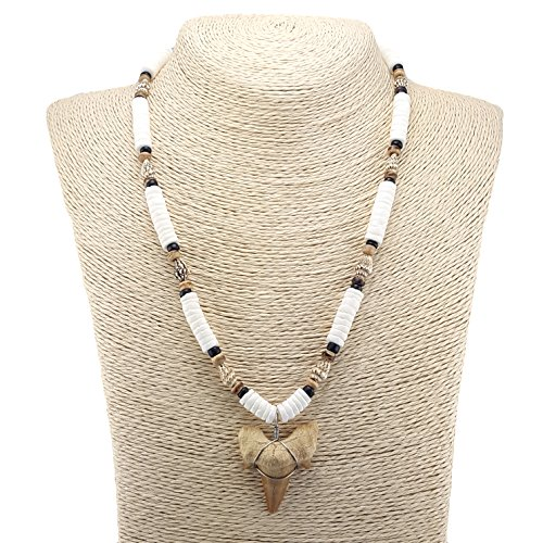 Shark Tooth Pendant on Puka Shells Necklace with Nassa Shells and Coconut Wood Beads - Jewellery Shell Coconut