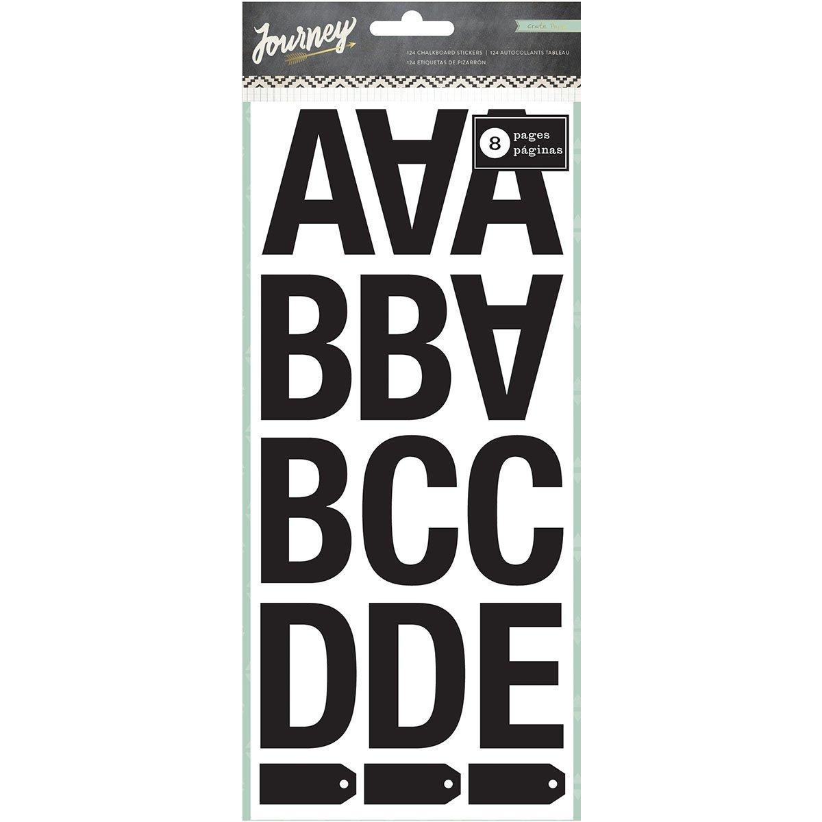 海外最新 American Crafts B00Y2M46AW Journeyステッカー黒板アルファベットブック8ページ Crafts American、最大2.25