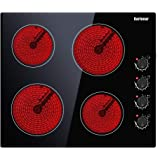Electric Cooktop, Built-in Ceramic Cooktop Hard Wired, 220-240V Electric Stove Top with 4 Burners, 9 Heating Level, Knob Cont