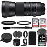Sigma 150-600mm 5-6.3 Contemporary DG OS HSM Lens for Canon DSLR Cameras 745101 w/USB Dock + Two 64GB SD Card Advanced Photo & Travel Bundle
