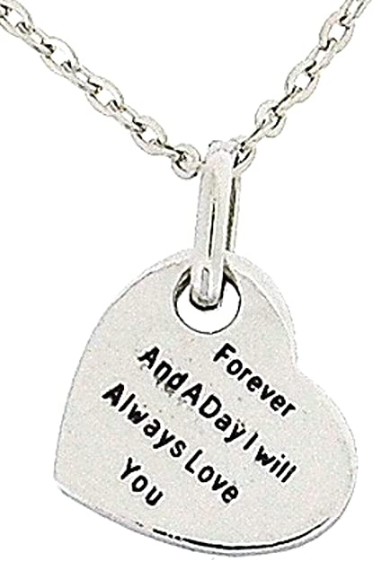 """TOC 2 Sided Worded Love Heart Necklace On an 16/"""" Chain Christmas Gift For Her !"""