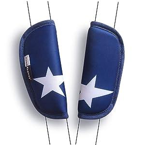 2 Piece Belt Strap Covers for Stroller Shoulder Pad for Baby Car Seat (Blue)