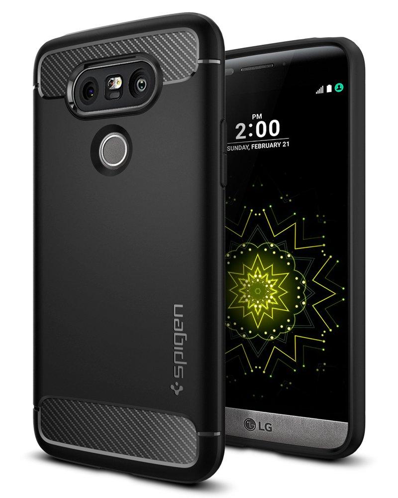 LG G5 Case/LG G5 Cases, Spigen Rugged Armor - Resilient Shock Absorption and Carbon Fiber Design for LG G5 (2016) - Black A18CS20128