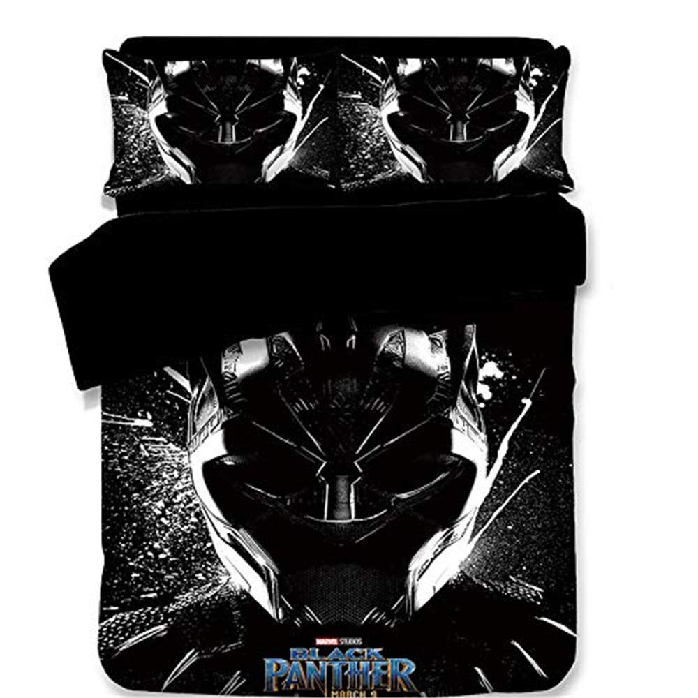 NOOS Black Panther Bedding Set for Boys 3D Marvel Duvet Cover Queen Size, Superhero Bedding Comforter Cover Set for Teen and Kids Bed Set 3PC,1Duvet Cover, 2Pillowcases