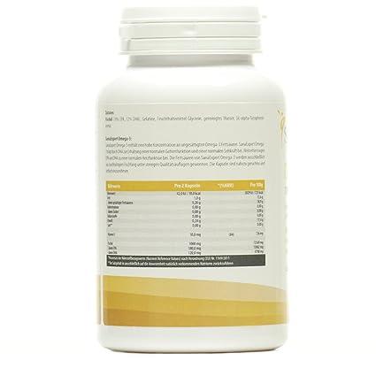 SanaExpert Omega-3, Aceite de Pescado 1000 mg, EPA y DHA, Libre de Lactosa, Fructosa, Gluten y OMG, 120 unidades: Amazon.es: Salud y cuidado personal