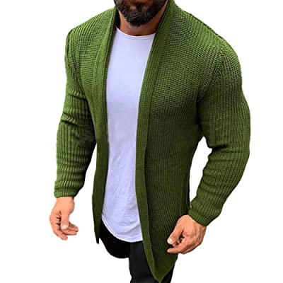 Mens Cable Knit Cardigan Sweater Open Front Button Coat Winter Casual Outwear UK