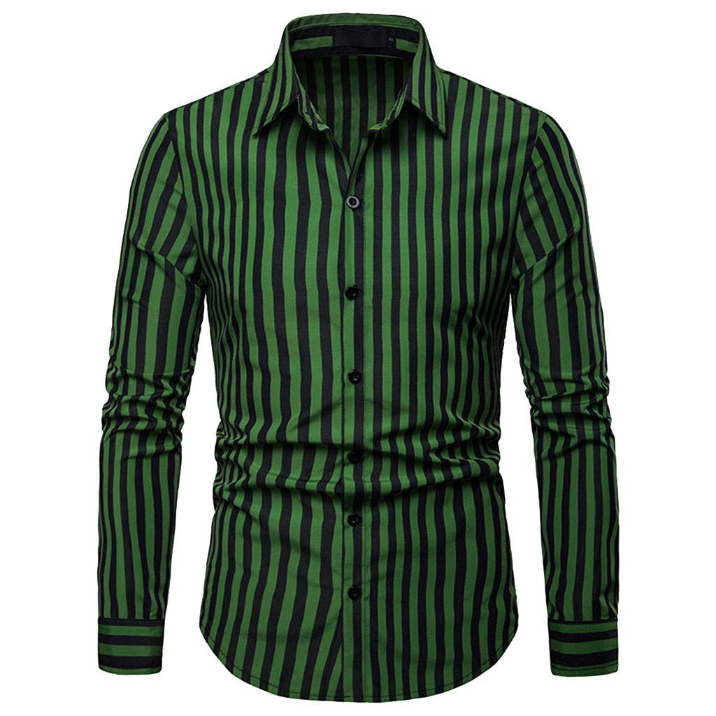 X-i^i Men's Long Sleeve, Striped Painting Business Shirt Large Size Casual Top (S, Blue)