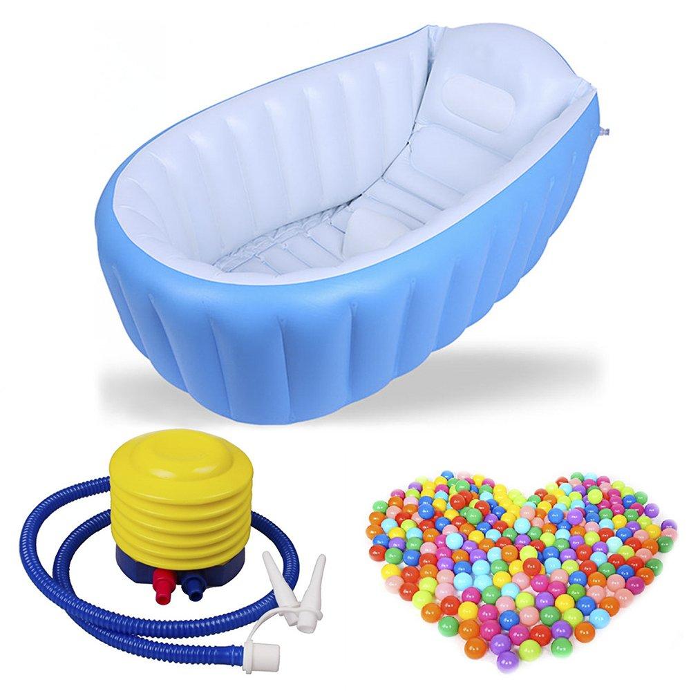 AHZzYインフレータブル赤ちゃん浴槽、ポータブルAir Bath Basin with Inflatorポンプ+ 50個カラフルなソフトプラスチック海洋ボールおもちゃポータブルシャワーBasin forベビー乳児幼児用 35.6x25.2x11inch ブルー 53146B3X578U2 35.6x25.2x11inch ブルー B07CM5CX9B