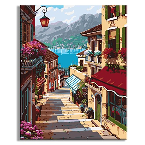 RUOPOTY 40x50cm Coffee Town Landscape Painting By Numbers Wall Art Diy Digital Oil Painting Home Decor For Room Decoration