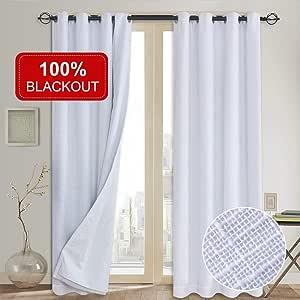 100% Blackout Curtains(with Liner),Primitive Linen Look White Blackout Curtains& Blackout Thermal Insulated Liner,Grommet Curtains for Living Room/Bedroom,Burlap Curtains-2 Panels, 50x84