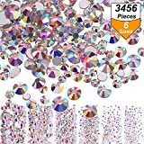 Arts & Crafts : Bememo 3456 Pieces Nail Crystals AB Nail Art Rhinestones Round Beads Flatback Glass Charms Gems Stones, 6 Sizes for Nails Decoration Makeup Clothes Shoes (Crystal AB, Mixed SS4 5 6 8 10 12)