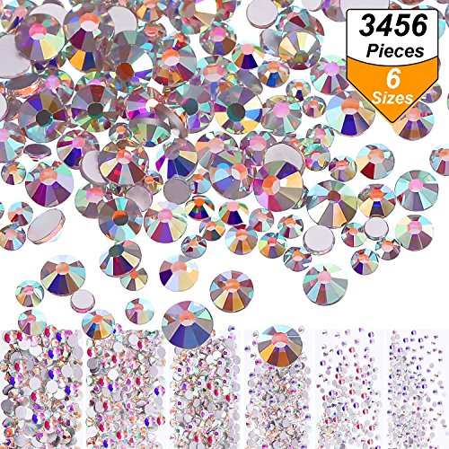 Bememo 3456 Pieces Nail Crystals AB Nail Art Rhinestones Round Beads Flatback Glass Charms Gems Stones, 6 Sizes for Nails Decoration Makeup Clothes Shoes (Crystal AB, Mixed SS4 5 6 8 10 12)