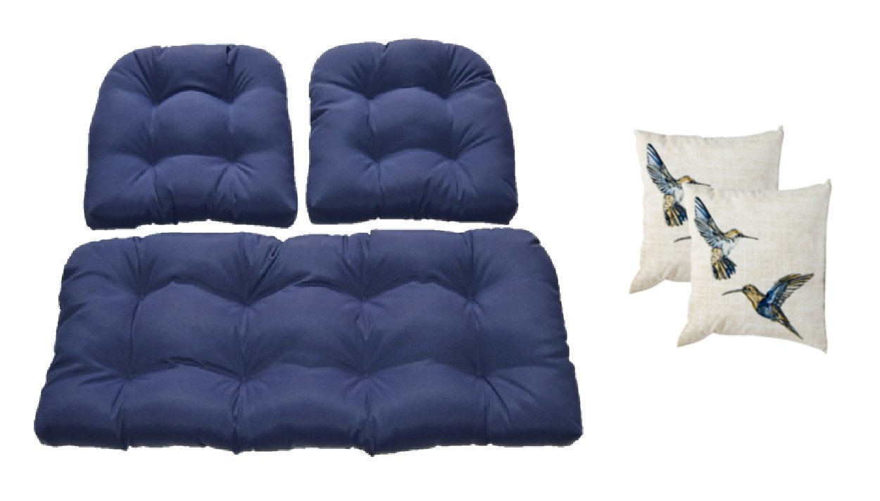 Navy Blue Cushions for Wicker Loveseat Settee & 2 Matching Chair Cushions + 2 Free Humming Bird Square Pillows