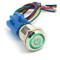 DollaTek 19mm 12V Interruptor momentáneo Botón pulsador Interruptor