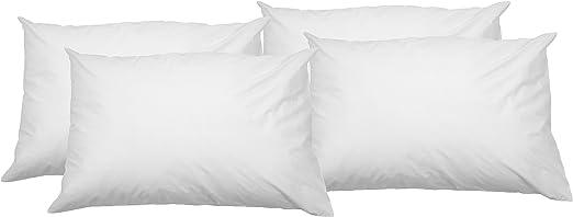 AmazonBasics - Funda de almohada suave con cremallera (100% algodón, 50 x 80 cm, 4 unidades): Amazon.es: Hogar
