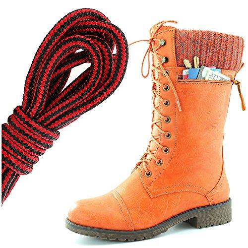 Dailyshoes Womens Combat Stijl Lace Up Enkellaarsje Ronde Teen Militaire Knit Creditcard Mes Geld Portemonnee Pocket Laarzen, Zwart Rood Oranje Pu
