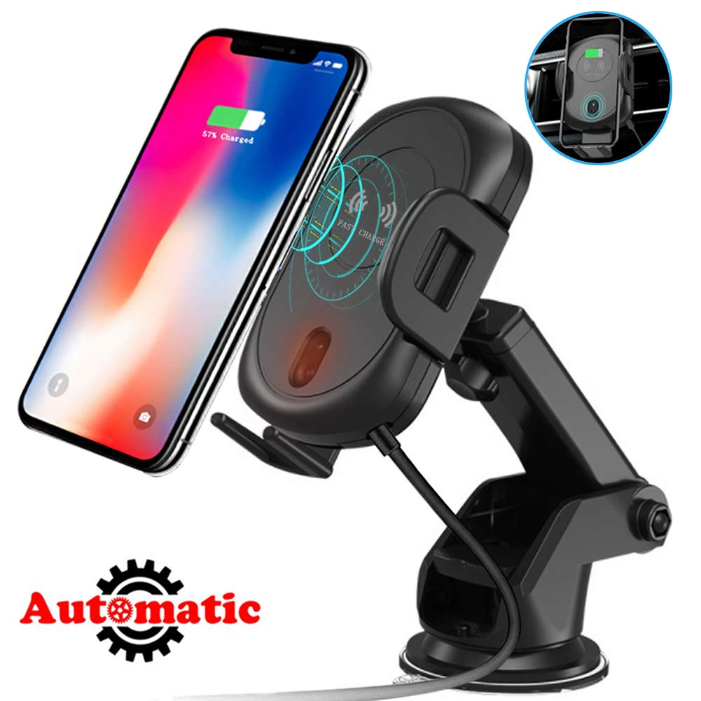 Wireless Car Charger Mount, Qi Fast Charger Auto-Clamping Air Vent Car Mount Windshield Dashboard Charging Car Phone Holder Compatible with iPhone iPhone Xs/Xs Max/XR /8/8 Plus, Galaxy S9/S8/S9+.