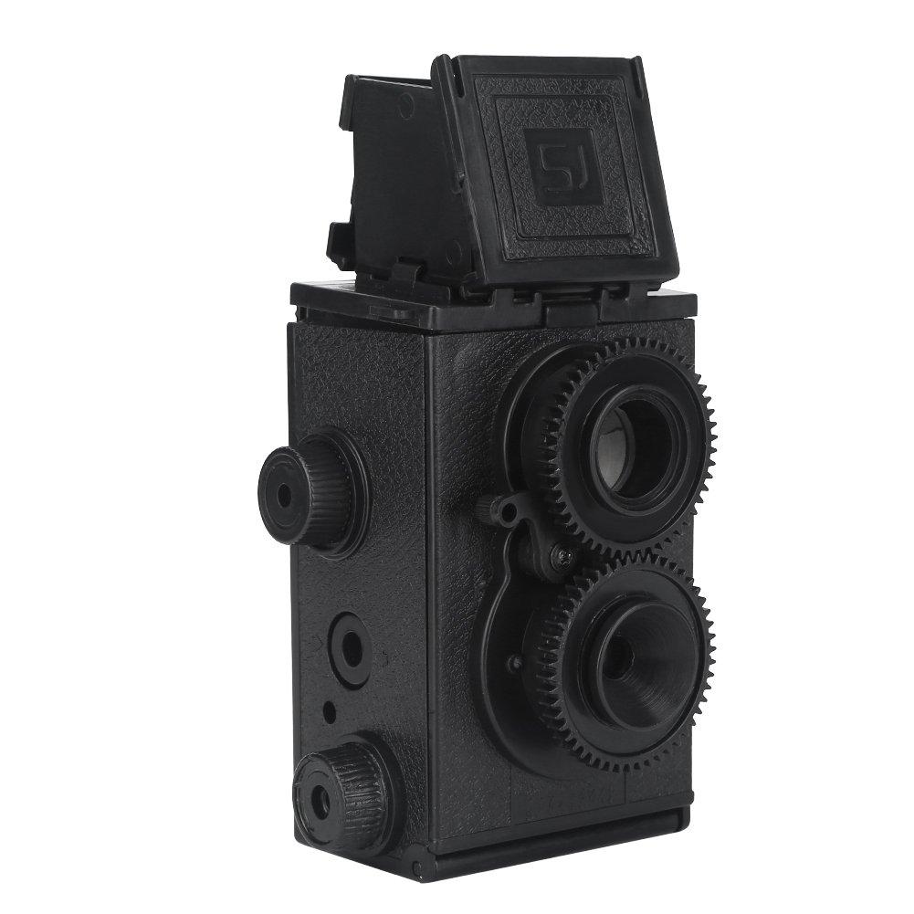ブラック35 mmフィルムカメラツインレンズReflex DIY Assemblingおもちゃのギフト子供大人用   B07B9XK1MT