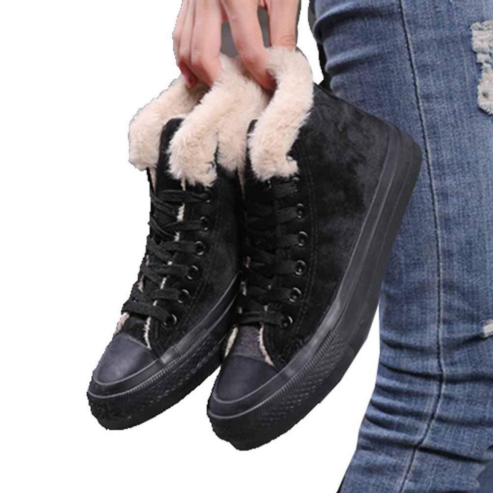 Sneakers Alte da Donna in Tela Classiche Scarpe Stringate da Passeggio Stivaletti Corti in Peluche Tinta Unita Sneakers Basse in Pelle Scamosciata con Calore Invernale