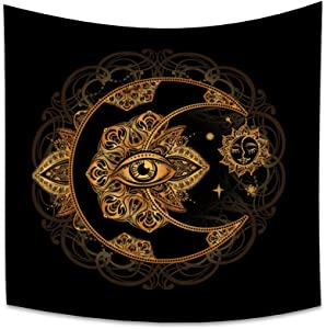 OERJU 70.9x70.9 Inch Tarot Style Tapestry Golden Moon Eye Floral Burning Sun Stars Boho Hippie Bohemian Pattern Europe Divination Wall Hanging Hall Home Decor Bedroom Living Room Tablecloth Blanket