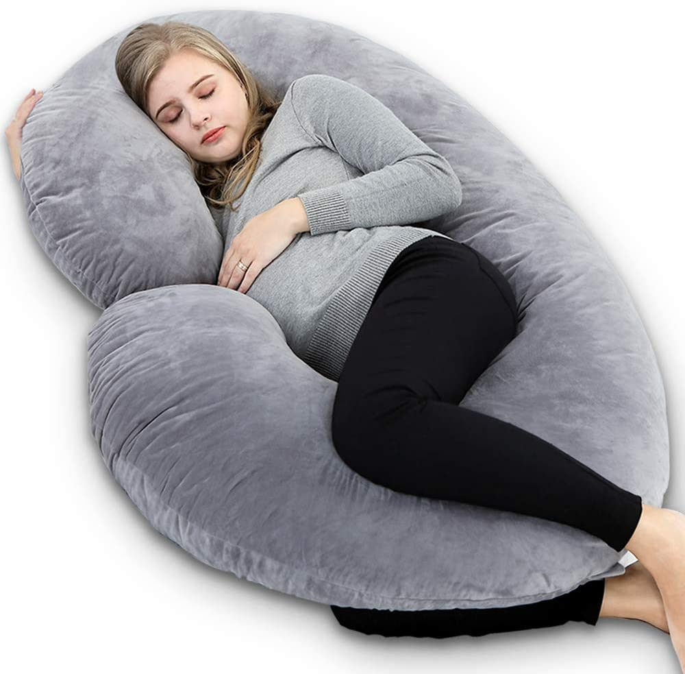 NiDream Full Body Pregnancy Pillow C Shaped, Jersey Cover, Maternity Support Pillow, Cushion & Pillow for Pregnant Women