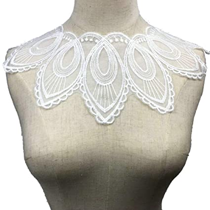 cabcfaf2d4 Image Unavailable. Image not available for. Color  Black White Luxury Craft  Polyester Flower Embroidery Decorated Venice Lace Neckline Collar Applique  ...