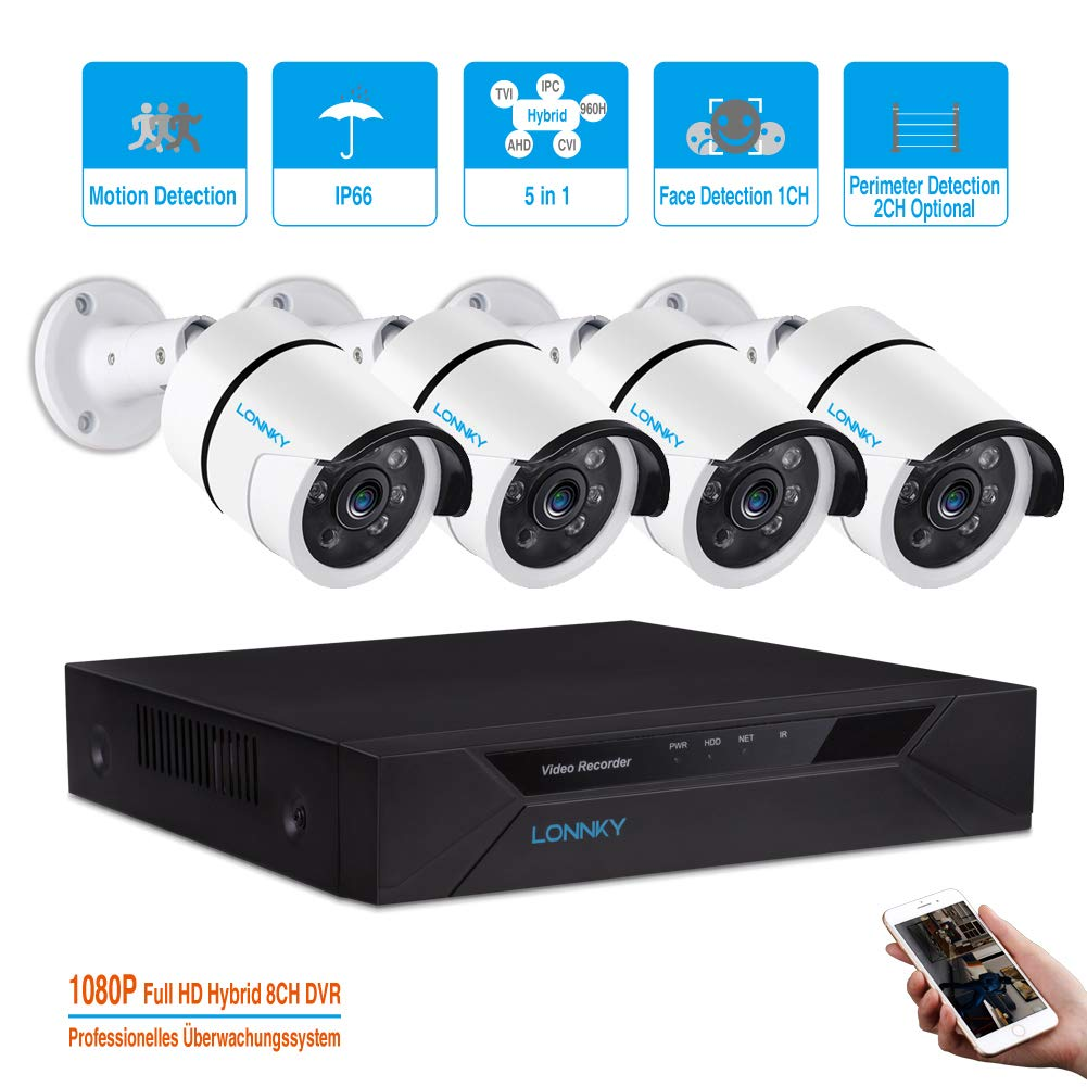 LONNKY 8CH Full HD 1080P DVR Surveillance Security Camera System, 4Pcs Waterproof Outdoor Indoor Bullet Cameras, with 80ft Night Vision,Support Intelligent Face Detection,Without Hard drive disk,White