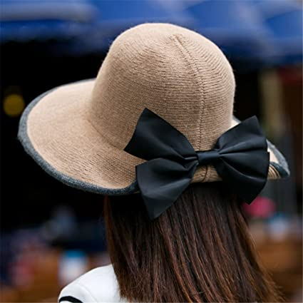 GAOQIANGFENG Mujer señora Sombrero Arco Domo Invierno Plegable Punto  Sombrero otoño Invierno 11d5df96609