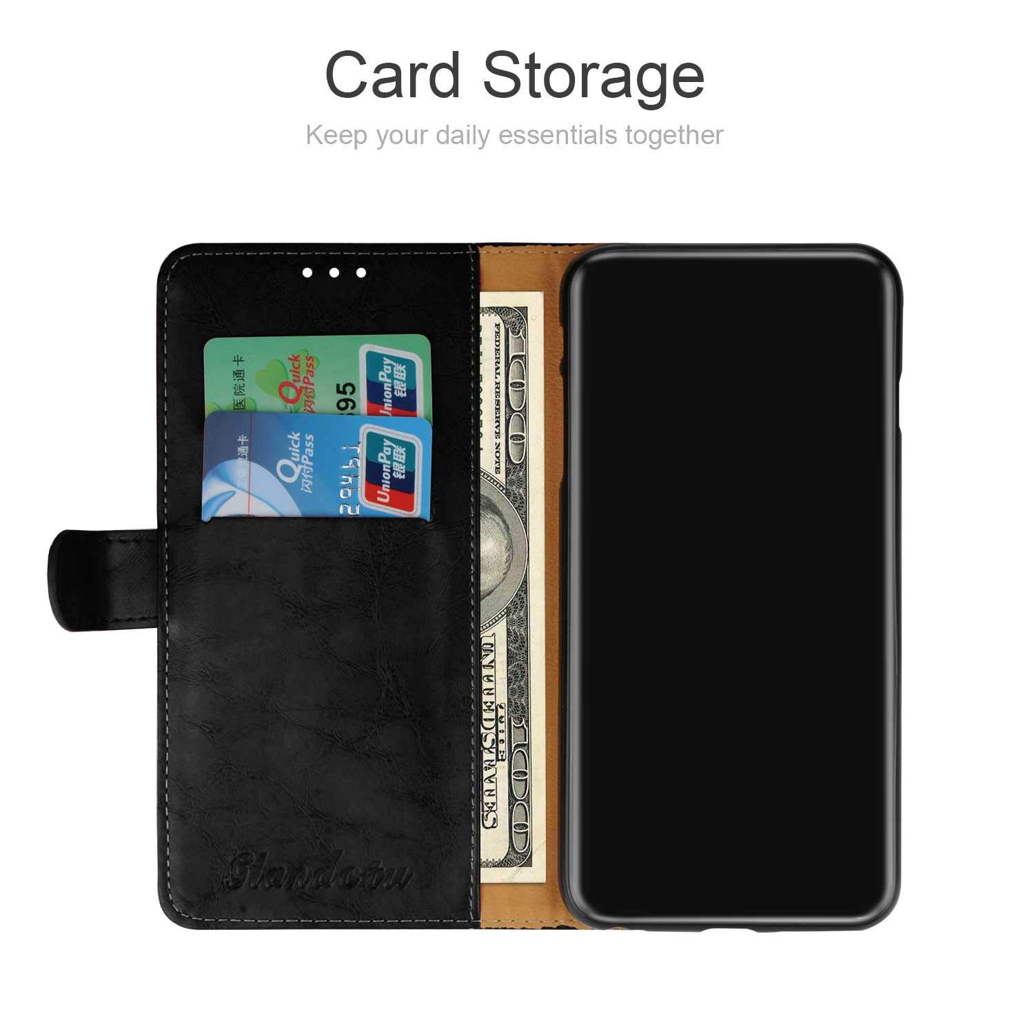 CUSKING Slim Leather Wallet Case Dragon Embossed Design with Credit Card Holder Black Magnet Flip Cover with Black Silicone TPU Case for Moto Z3 Play Moto Z3 Play Case