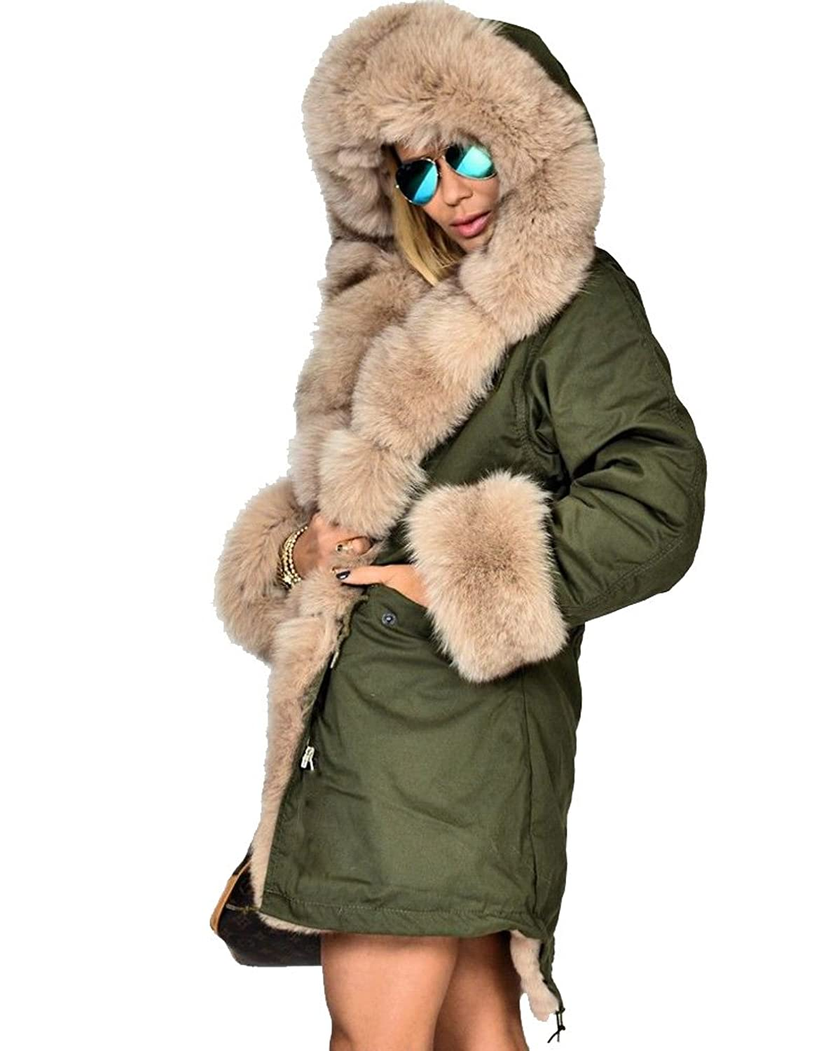 Amazon.com: Roiii Women Hooded Parka Faux Fur Winter Warm Ladies ...