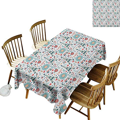 kangkaishi Leakproof Polyester Long Tablecloth Outdoor and Indoor use Retro Colored Cheerful Composition with Floral Figures Cupcakes and Je`Taime Print W60 x L84 Inch Multicolor]()