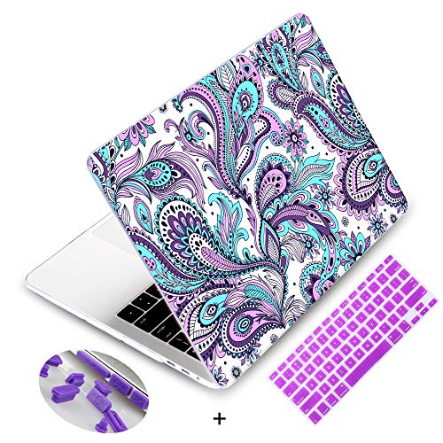MacBook Retina 13 inch Case 2015,Mektron Plastic Print Hard Case with Dust Plug & Silicone Keyboard Cover for Old MacBook Pro 13 with Retina Display Model A1502/A1425,Ethnic Paisley