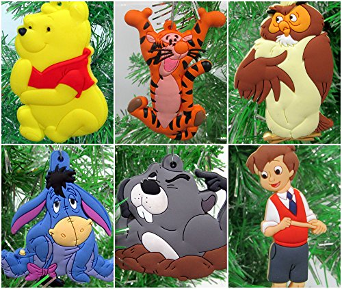 Christmas Tree Ornaments Winnie the Pooh Set Featuring Pooh and Friends - Unique Shatterproof Plastic Design