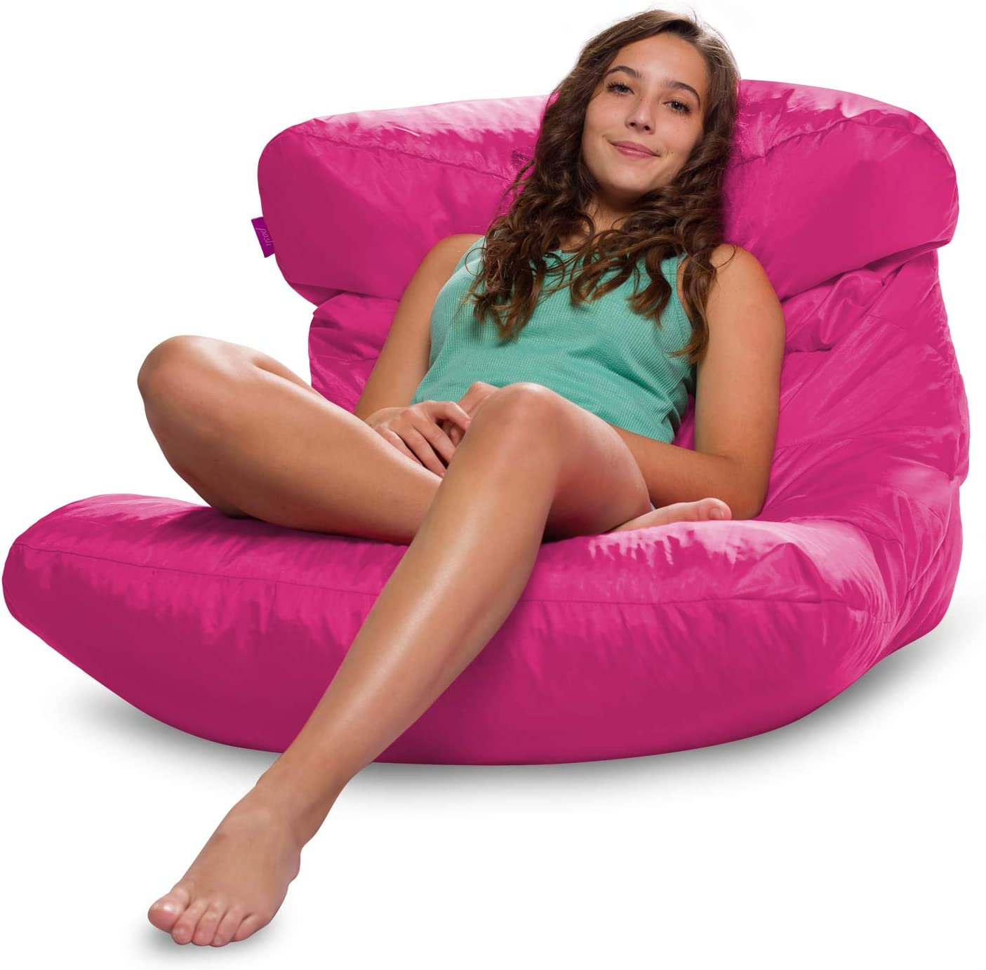 Posh Creations Laguna Lounger Teens, Kids and Adults for Bedrooms and Dorm Rooms, Large Bean Bag Chair, Soft Nylon-Pink