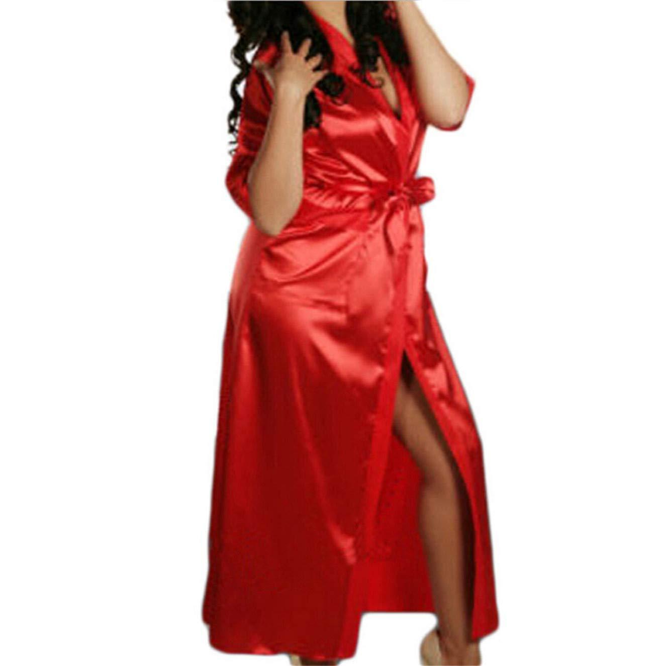 TIFENNY Women's Sexy Satin Ice Silk Bath Robe Babydoll Lingerie Nightdress Underwear Bathrobe Long Dress Red
