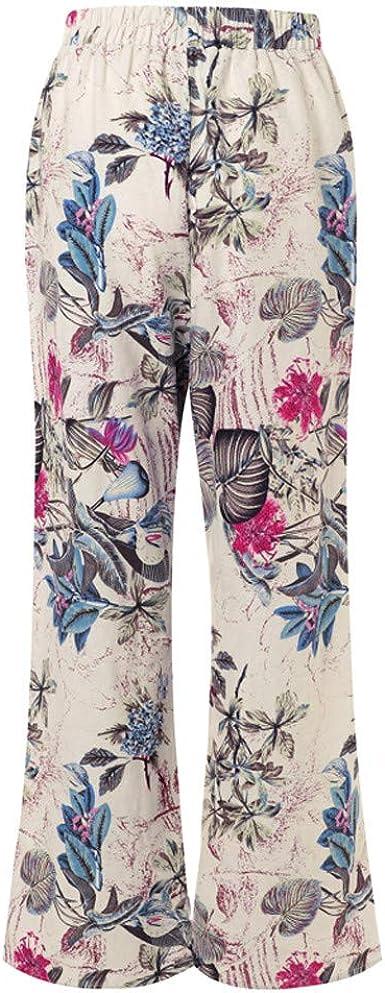 VPASS Mujer Pantalones, Impresión Pantalones de Algodon de Yoga Mujer Pantalones de Talla Grande Sueltos Casuales Largos Pantalones Leggings Cintura Alta Deportivos Running Fitness Pantalon: Amazon.es: Ropa y accesorios