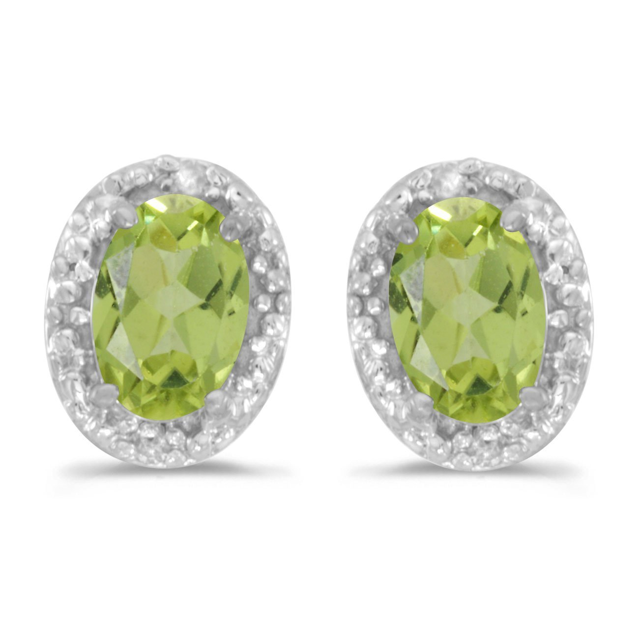 FB Jewels Solid 14k White Gold Studs Genuine Green Birthstone Oval Peridot And Diamond Earrings (4/5 Cttw.)