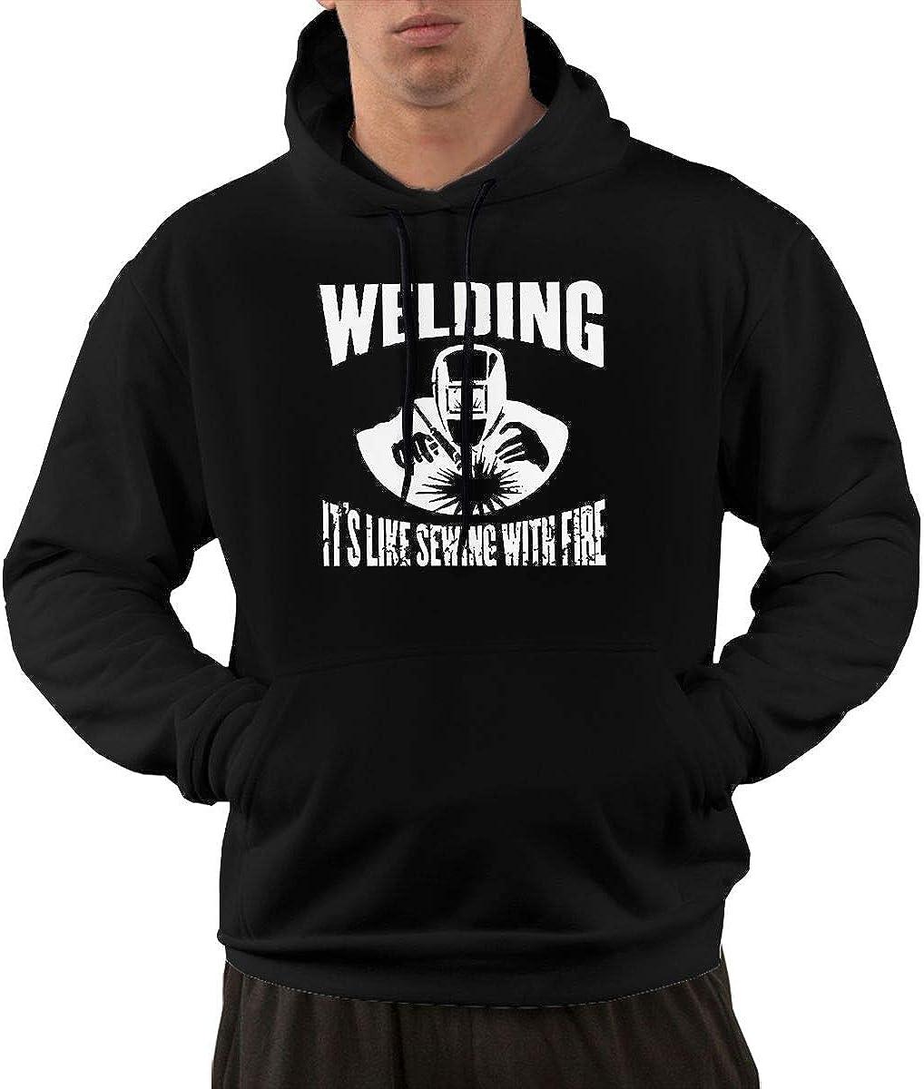 Sudadera de Manga Larga con Capucha para Hombre, diseño clásico con Texto en inglés Welding It's Like Sewing with Fire Pullover Hooded Sweatshirt with Pockets