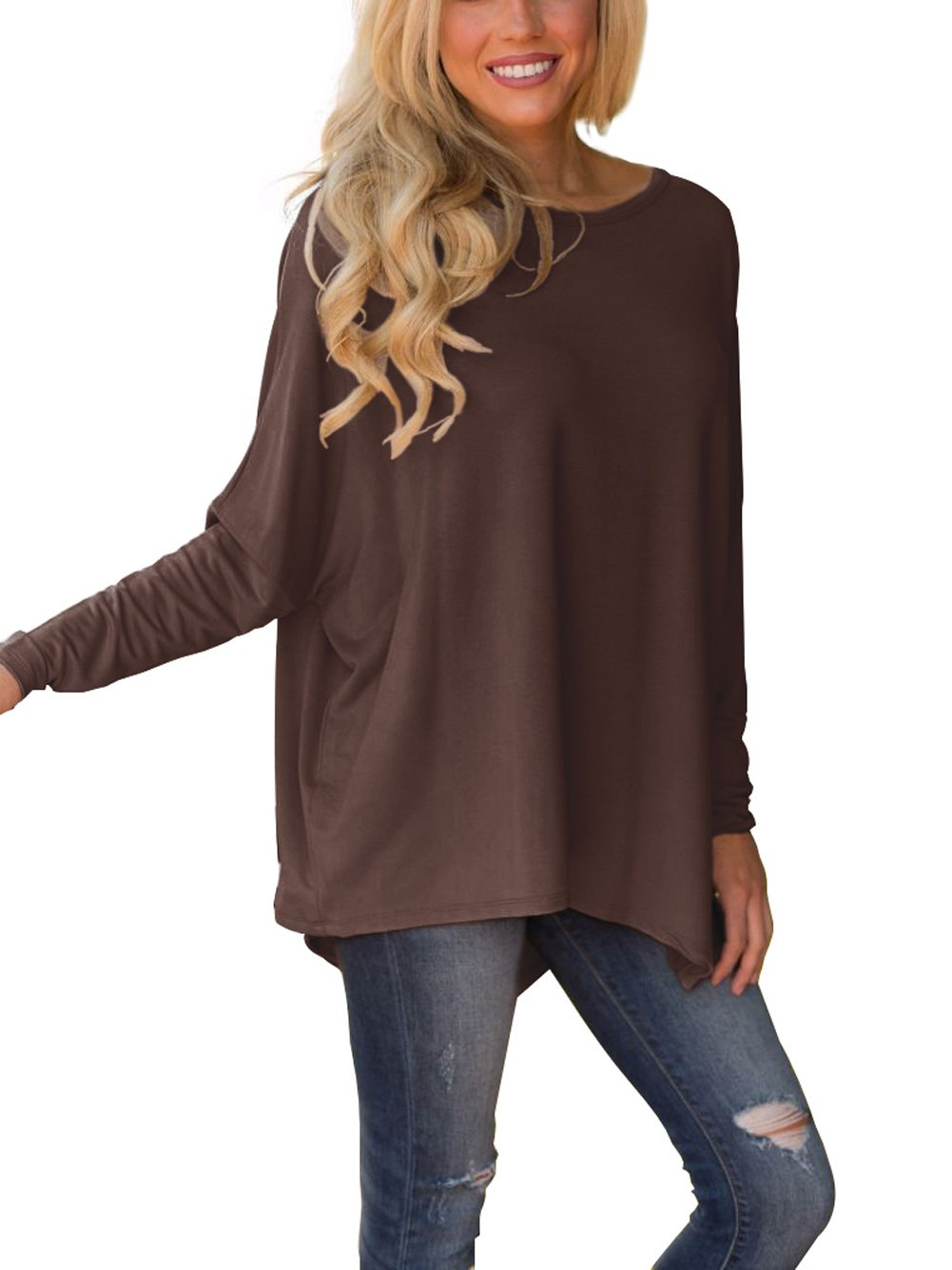 XUERRY Women Batwing Sleeve Pullover Dolman Tops Off Shoulder Loose Blouses(A,Coffee)