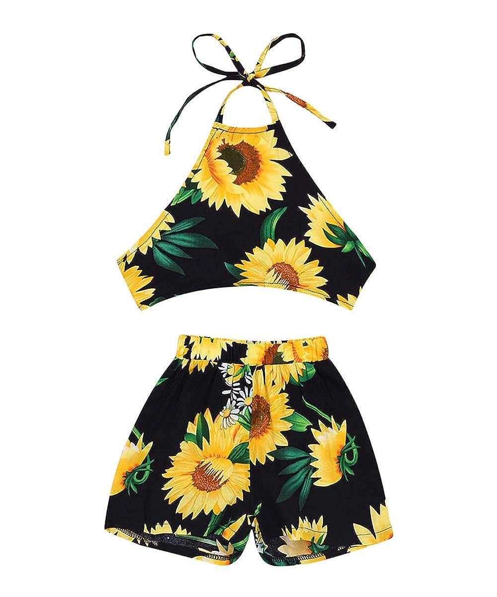 Newborn Baby Girl Halter Backless Crop Top Sunflower Shorts Summer Clothes