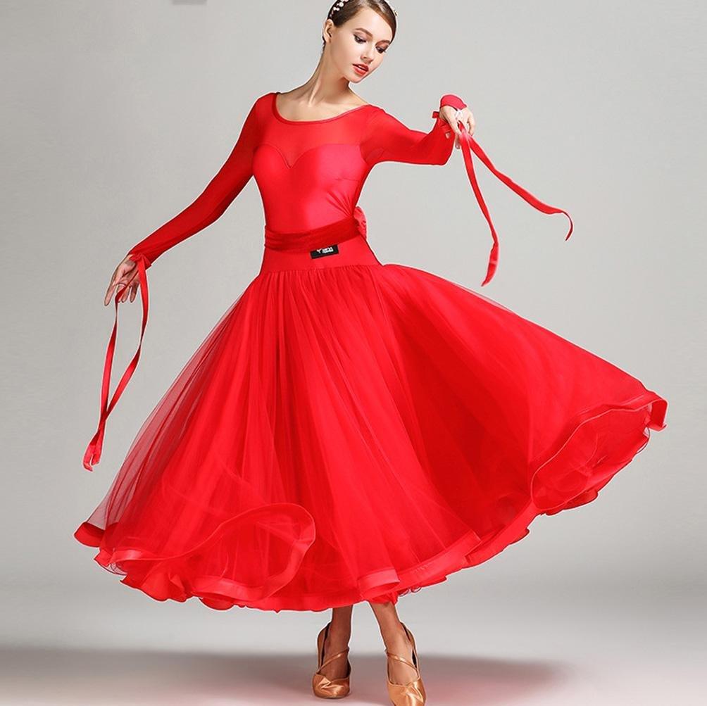 rouge XXL Perspective Engrener épissure Femmes Robe de Danse Moderne Exécution Lait de Soie Tulle Grande Balançoire Robes de Danse de Salon avec Cceinture en Arc