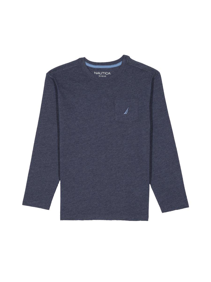 Nautica Big Boys' Long Sleeve Solid Crew-Neck T-Shirt, Blue Retro, Small (8)